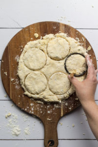 Southern Biscuits dough cut with a biscuit cutter