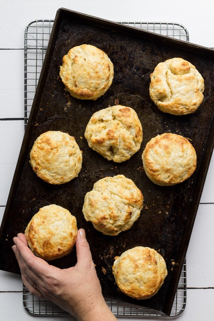 Southern biscuits recipe baked on a sheetpan