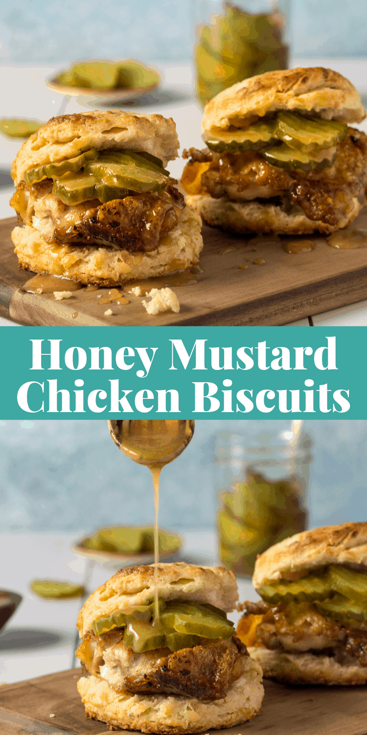 The BEST Chicken Biscuits Recipe from scratch with honey mustard sauce! #baking #chicken via @bessiebakes