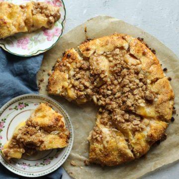 Peach Crostata recipe sliced and served
