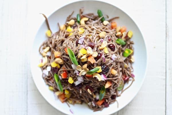 cold tahini soba noodle salad overhead