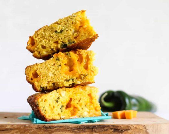 Crispy cast iron poblano cheddar cornbread recipe