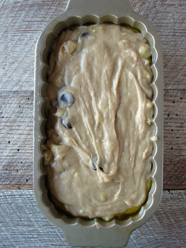gluten free banana bread in loaf pan