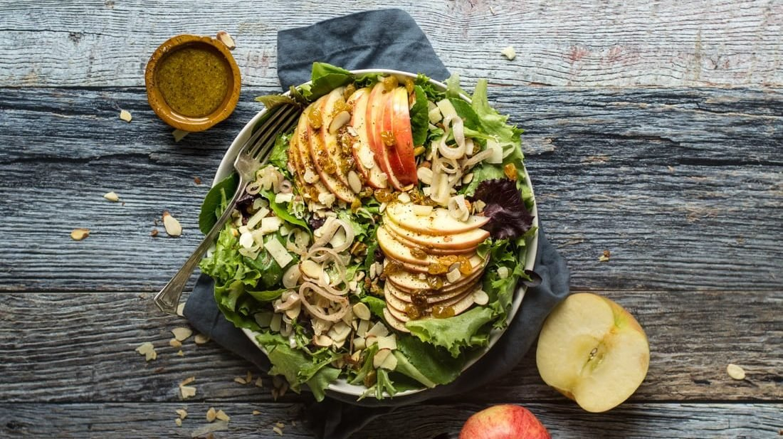 Crisp Apple Salad with apple salad dressing