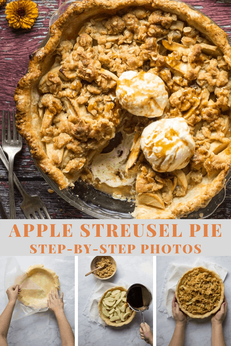 Apple steusel pie with step-by-step photos