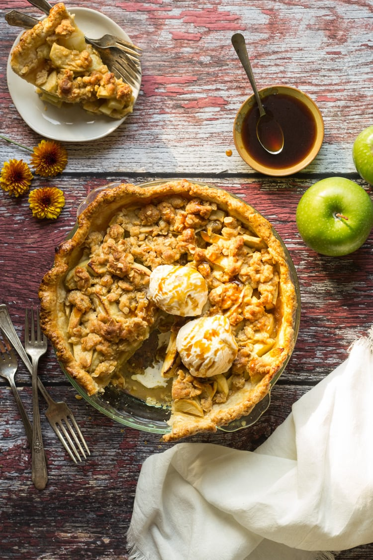 Apple Streusel Pie sliced and topped with ice cream