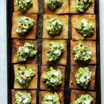 goat cheese guacamole with crispy wontons
