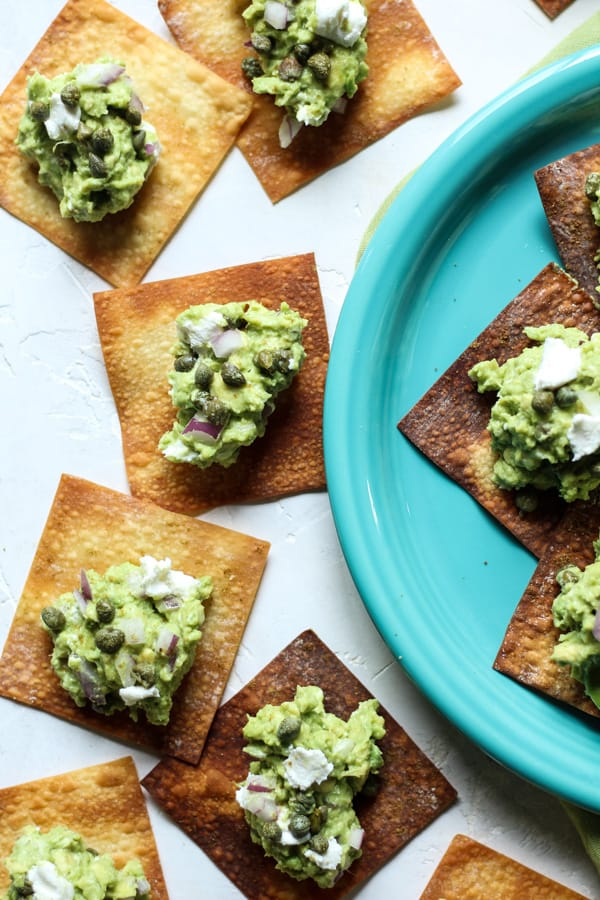 Goat Cheese guacamole with baked crisy wontons