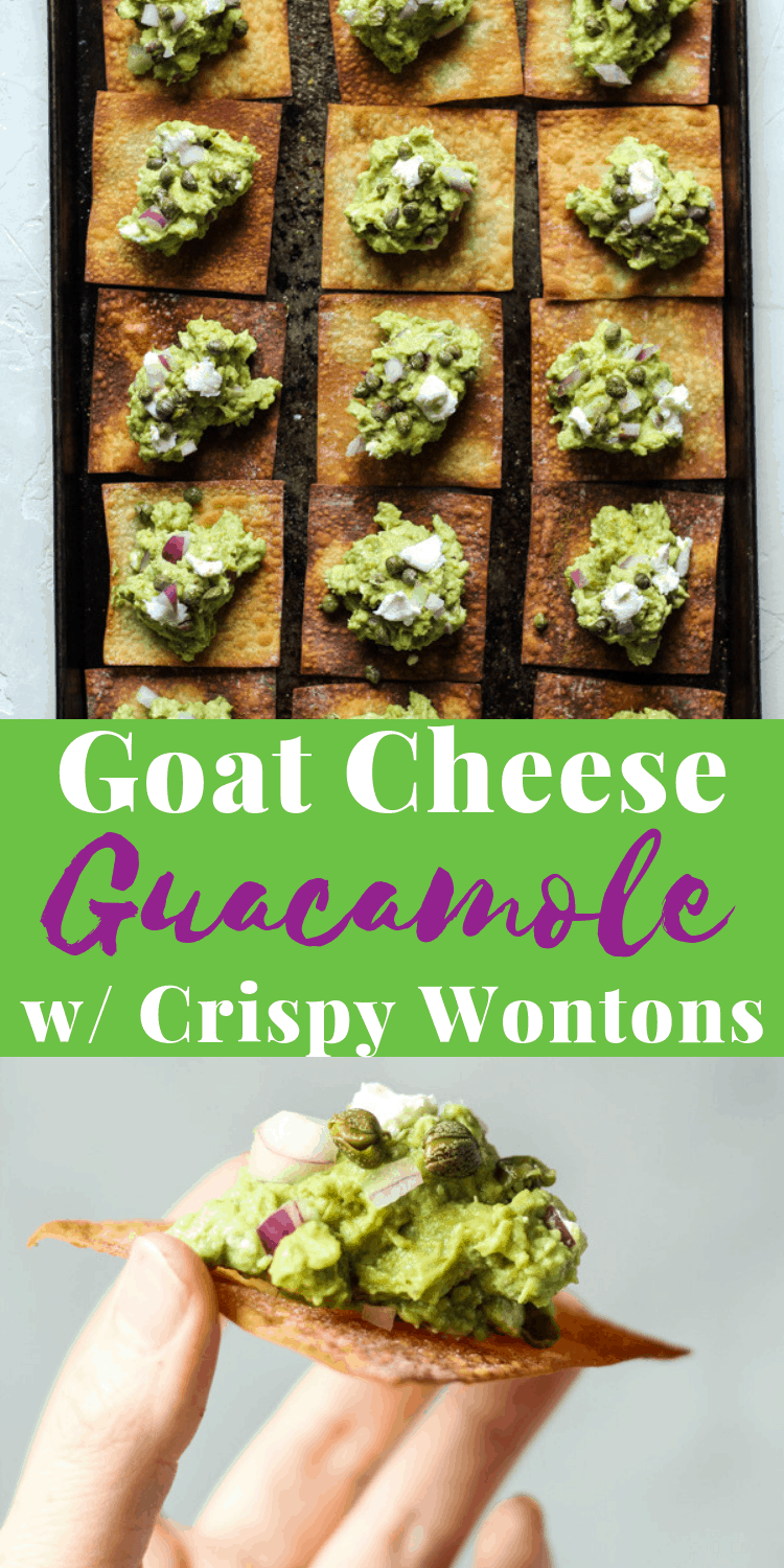 Goat Cheese Guacamole with Crispy Baked Wontons is a new twist on a guacamole recipe, appetizers for a party! #guacamole #guacamolerecipe #appetizers