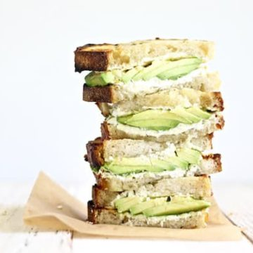 Avocado goat cheese sandwich with herbed butter is so easy and is the perfect weeknight meal