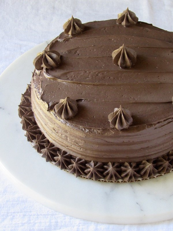 GF Browned Butter Chocolate Cake w/ Chocolate Meringue Buttercream