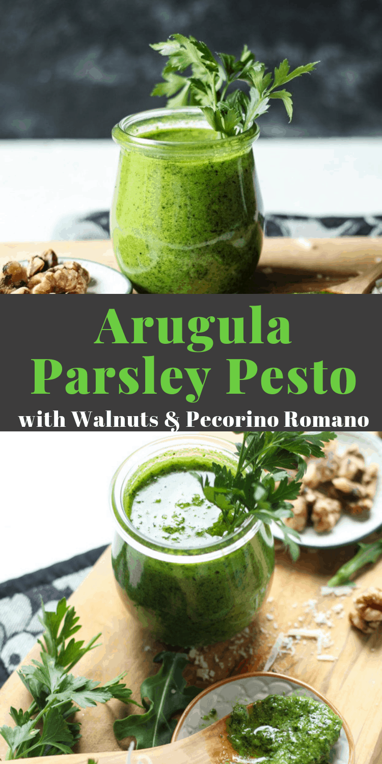 Arugula Parsley Pesto with walnuts, how to make pesto, how to keep pesto fresh #pesto #pestorecipe #sauce #saucerecipes