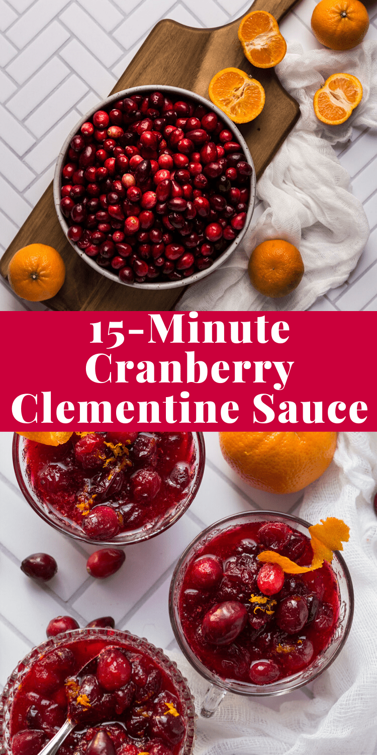 This is the easiest homemade 15 minute Cranberry Clementine Sauce!  You will never want canned cranberry sauce again. #thanksgiving via @bessiebakes