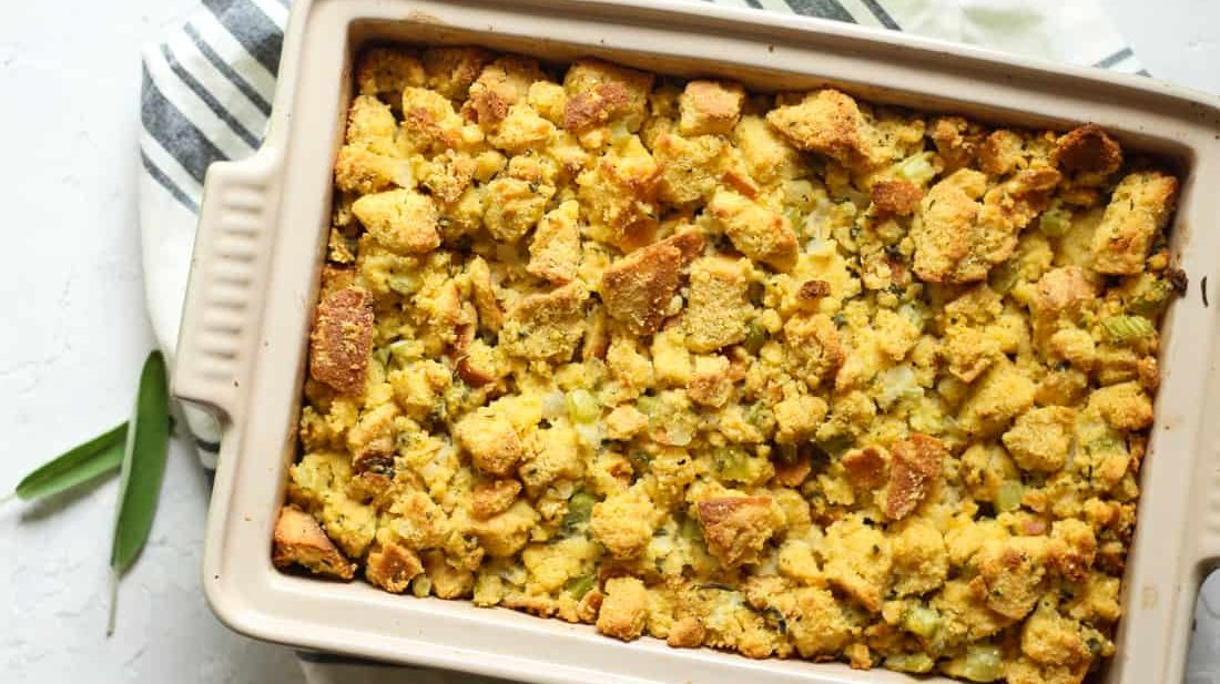 Gluten free southern cornbread stuffing or dressing in a casserole dish
