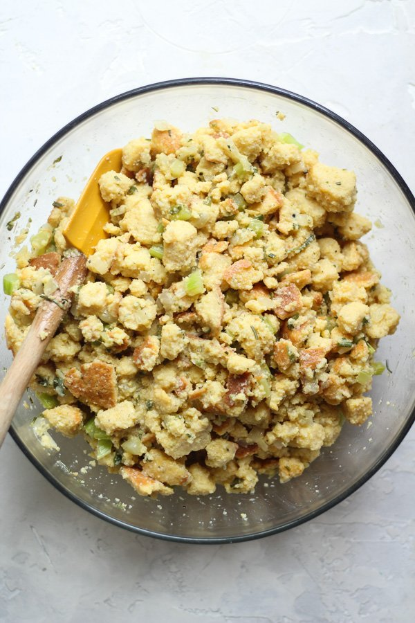 Gluten free southern cornbread stuffing with chicken broth