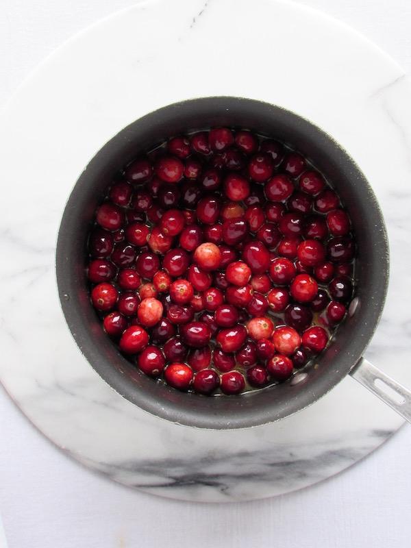 Cranberries in pan