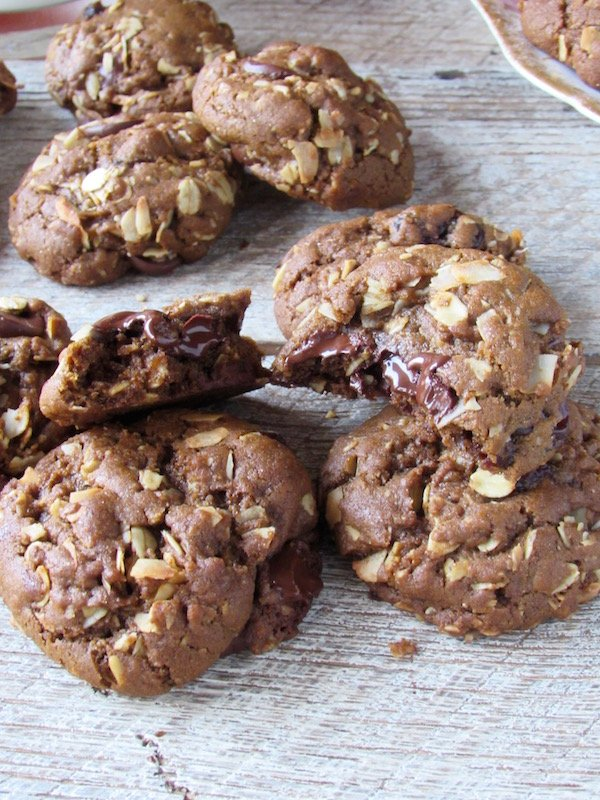 Oatmeal chocolate chip molasses cookies inside