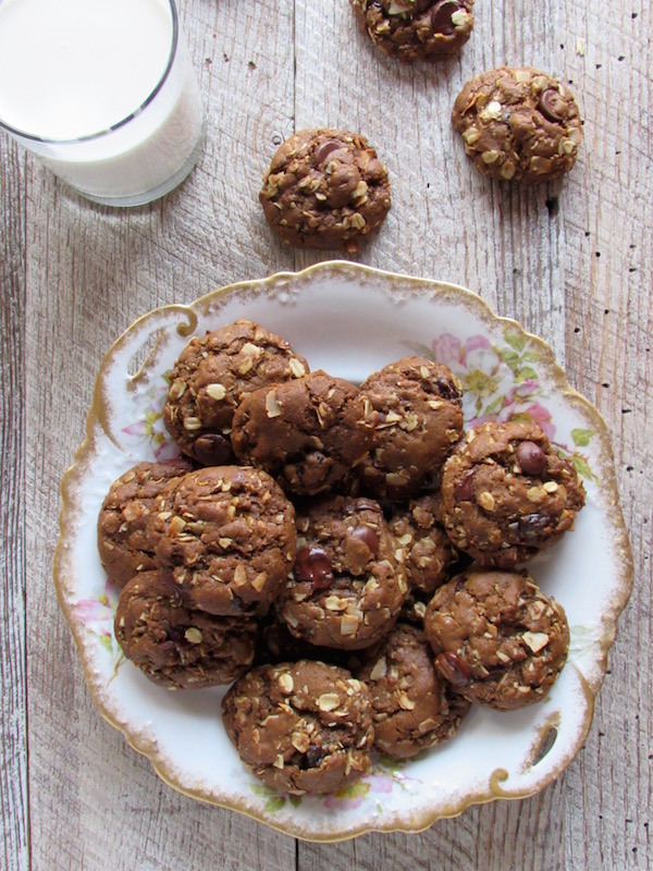 oatmeal chocolate chip molasses cookies plated