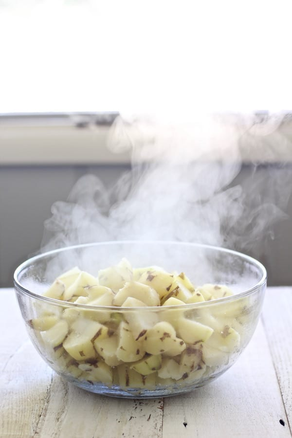 Cooked potatoes steaming