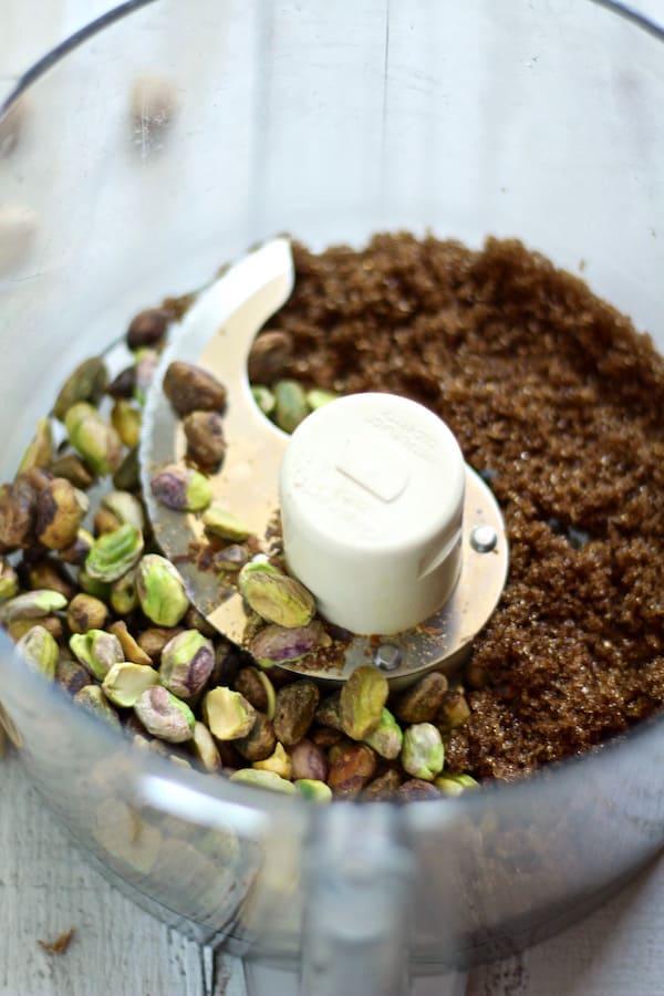 pistachio and brown sugar for pistachio paste