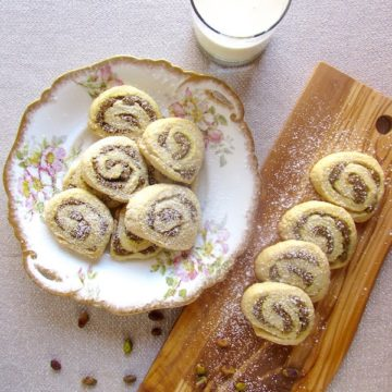 Pistachio rose water cookies are flaky, buttery, and not-too-sweet!
