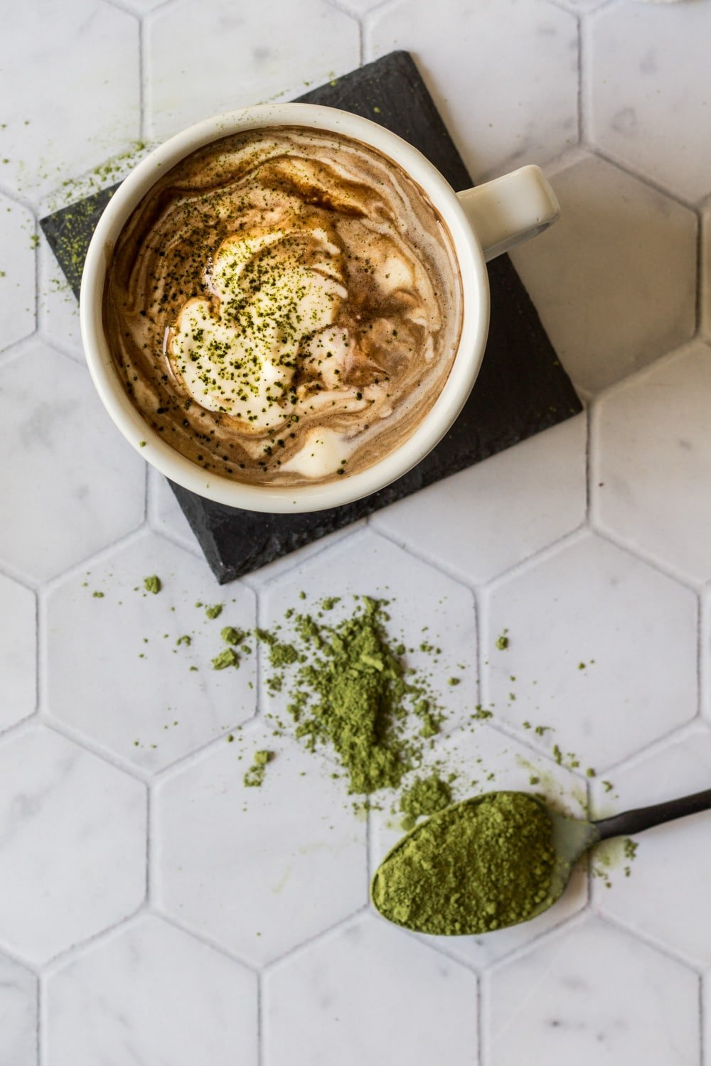 Matcha Hot Chocolate Recipe with a spoon of matcha powder