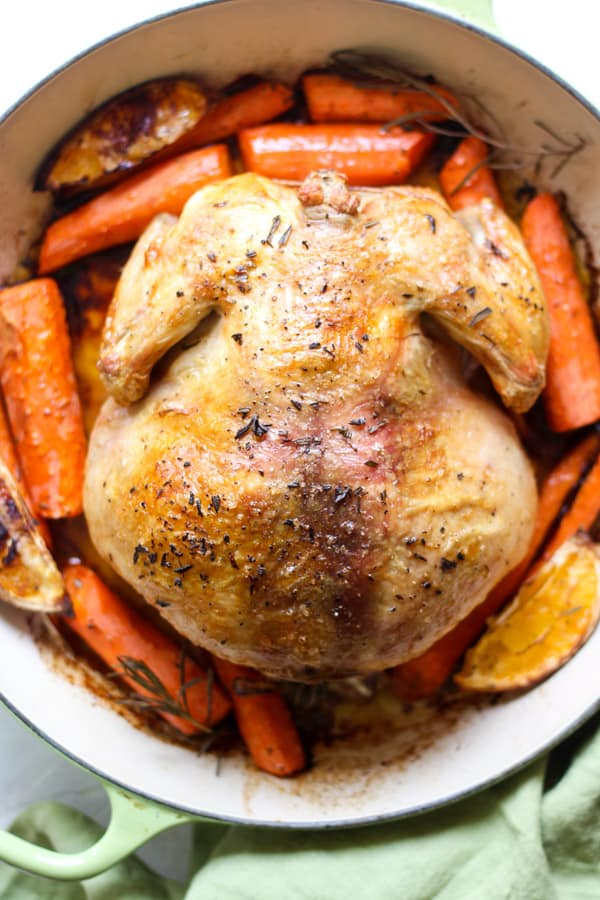 Roasting a chicken upside down is the easiest way to have tender chicken breast meat
