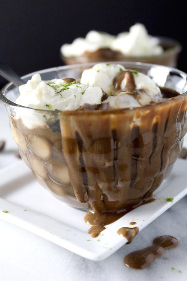 coconut matcha hot chocolate dripping