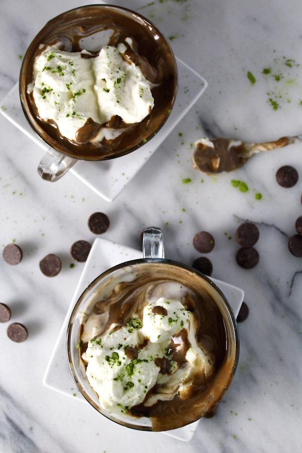 coconut matcha hot chocolate swirled