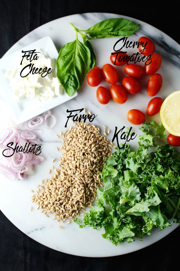 easy kale and farro salad ingredients