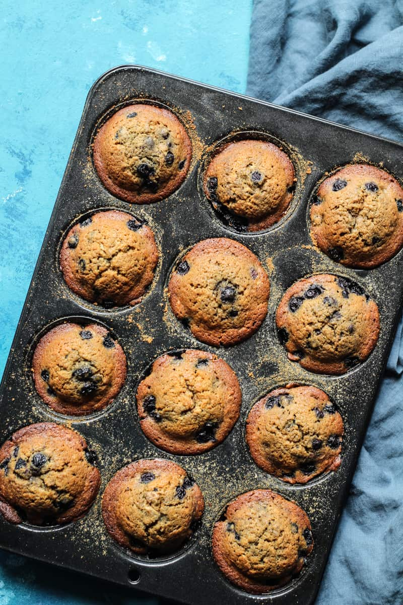 Blueberry Muffins with coconut oil baked in muffin tins