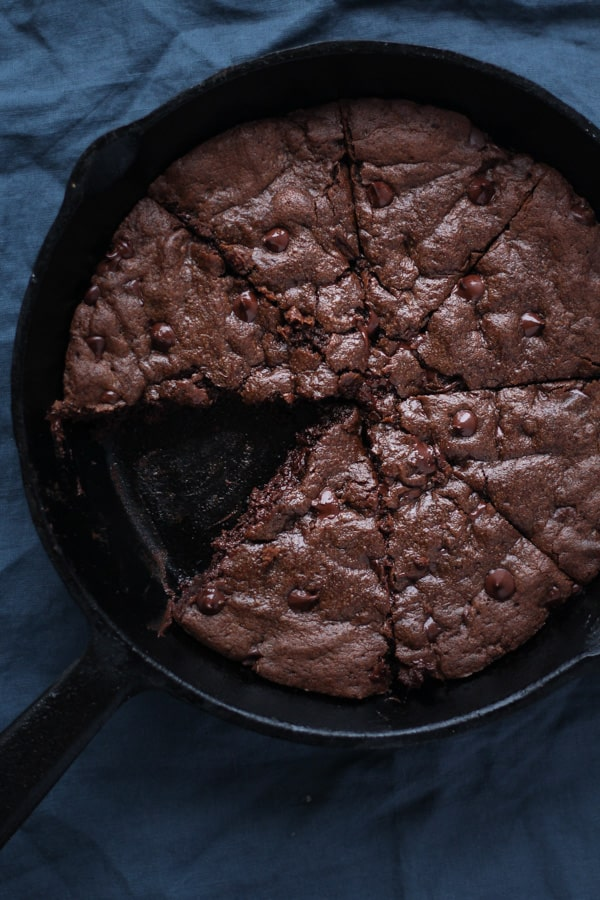 Double Chocolate Coconut Oil Skillet Cookie Sliced