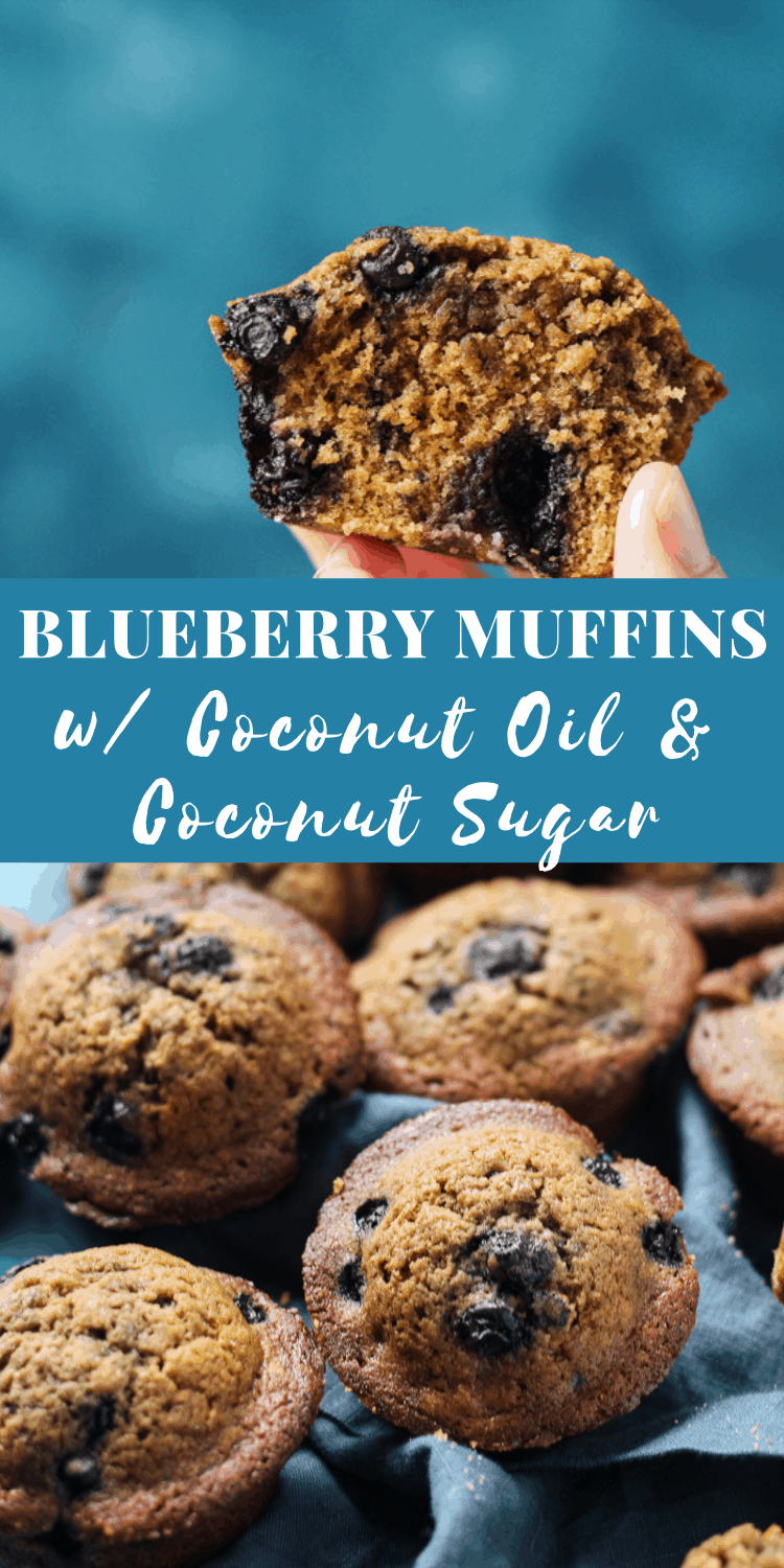 Easy Blueberry Muffins with coconut oil and coconut sugar #blueberrymuffins #coconutoil #breakfast #breakfastrecipes