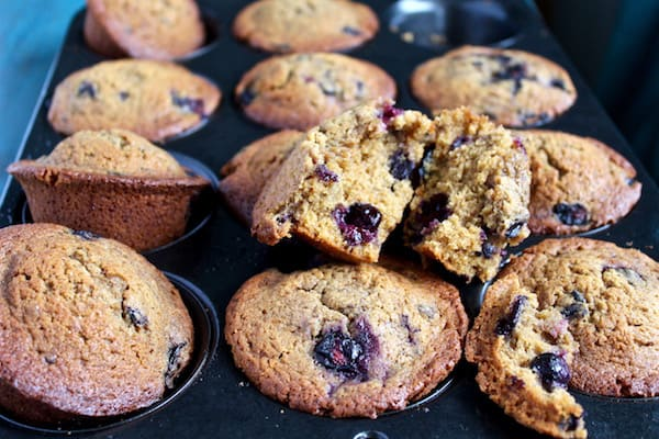 Easy blueberry muffins with coconut oil and coconut sugar