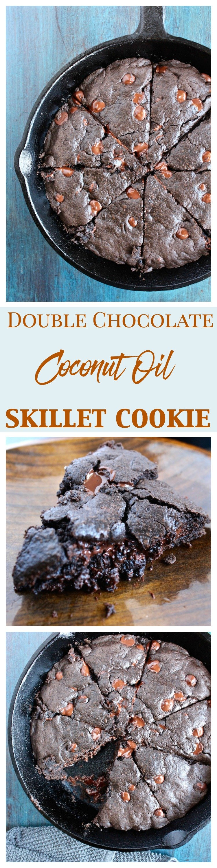 double chocolate coconut oil skillet cookie pinterest