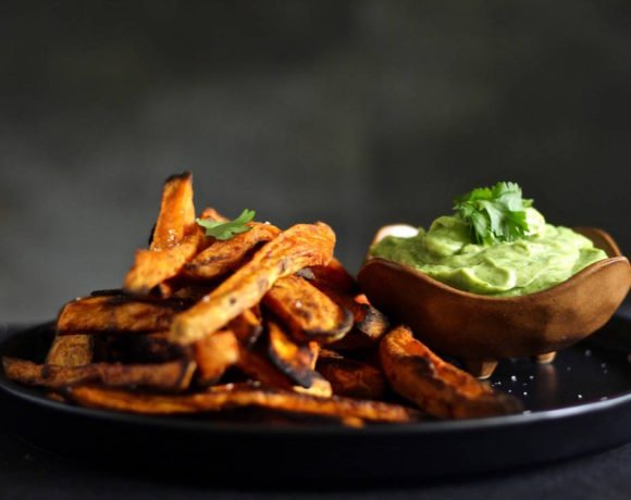smoky spicy sweet potato fries avocado coconut dipping sauce