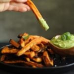 Smoky and spicy bakes sweet potato fries in an avocado coconut dipping sauce, YUM!
