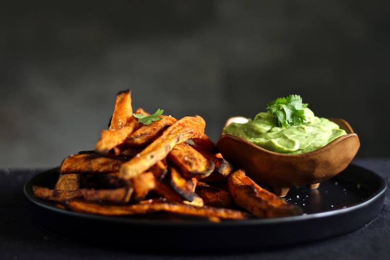Sweet potato Fries with avocado coconut sauce, vegan and gluten free