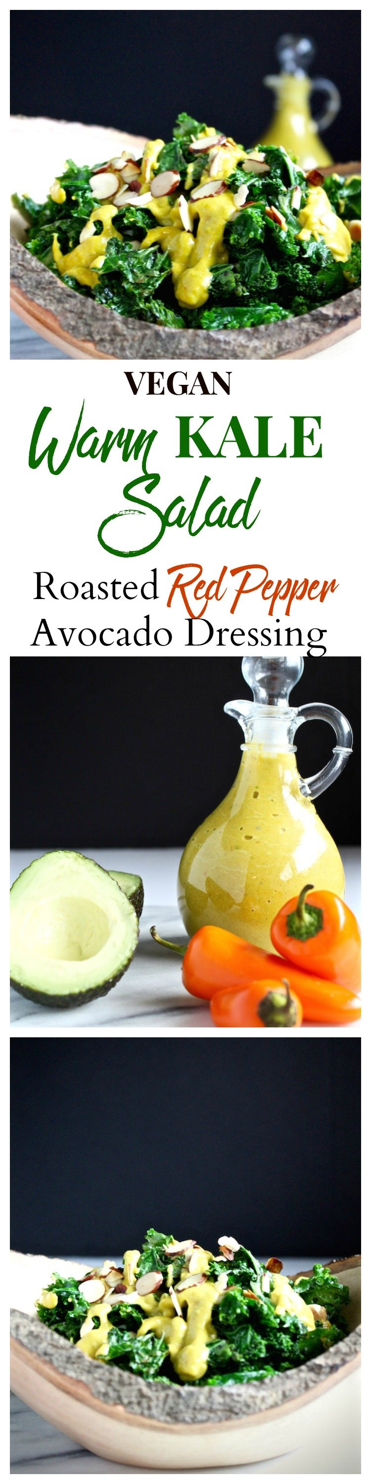 warm kale salad roasted red pepper dressing pinterest