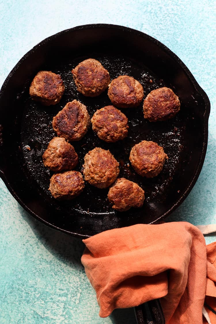 Easy Lamb Meatballs cooked in a skillet