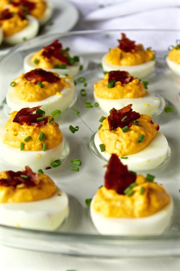 pimento bacon deviled eggs closeup 1