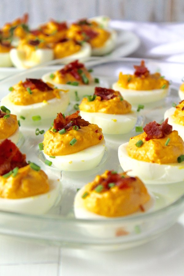 pimento bacon deviled eggs closeup