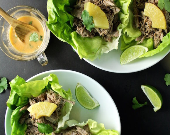 pineapple pork carnitas lettuce wraps