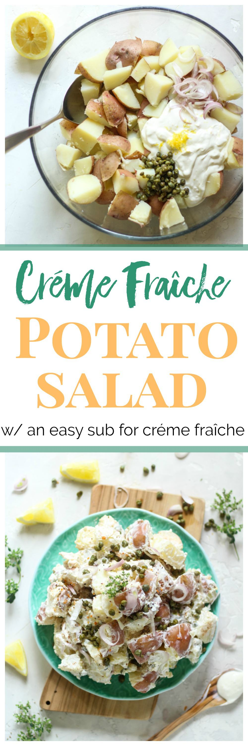 Try this easy and luscious creme fraiche potato salad recipe with lemon and capers!