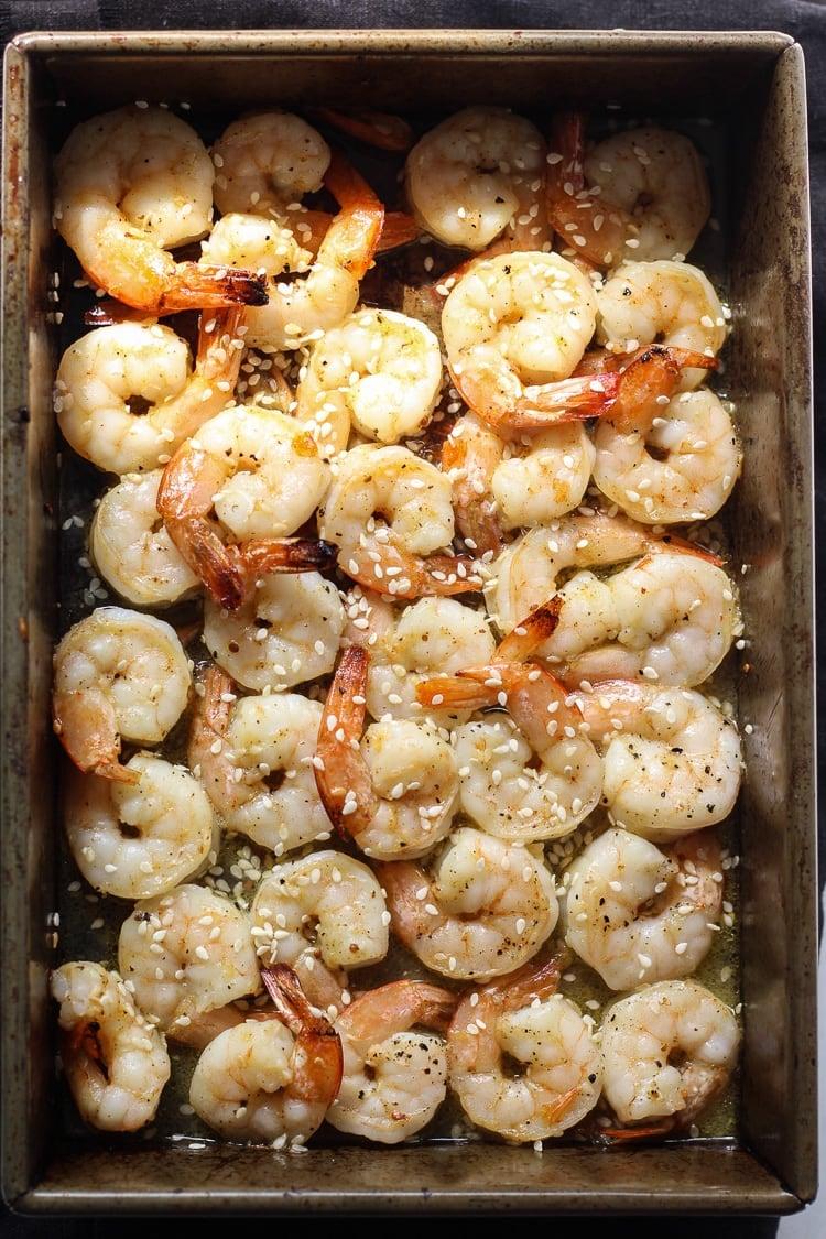 Broiled Shrimp on a sheet pan for Healthy Shrimp Salad recipe