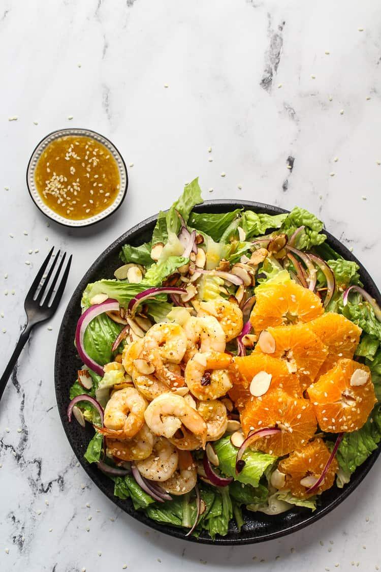 A healthy shrimp salad on a plate