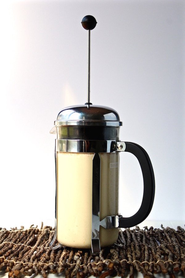 cashew milk in french press
