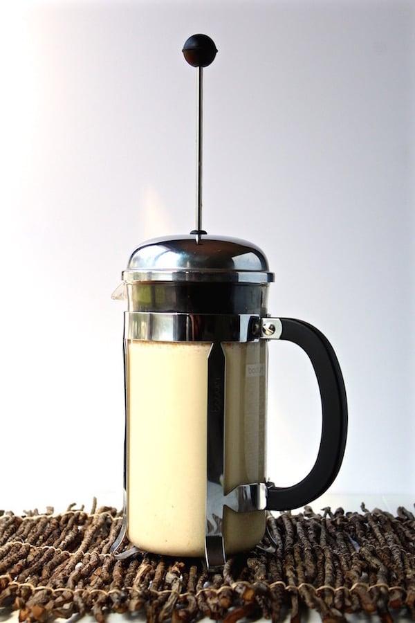 cashew milk in french press