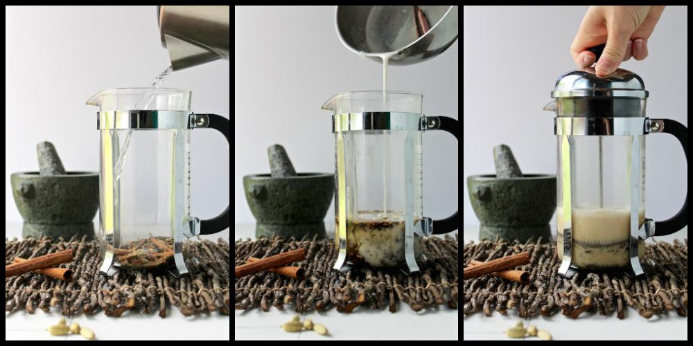 chai tea french press collage