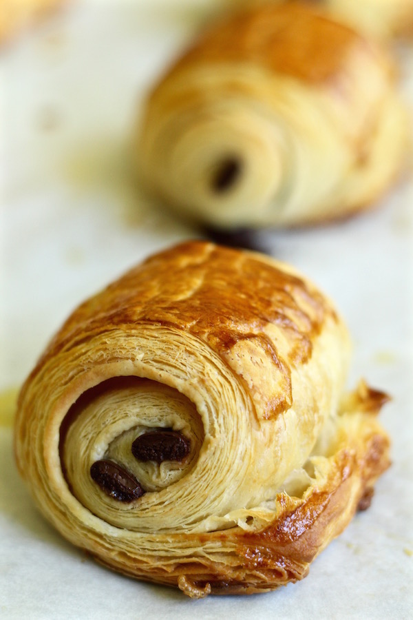 chocolate croissants baked closeup